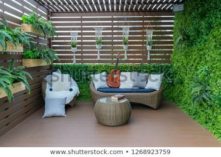 Foto stock: Branco · cadeiras · tropical · jardim · belo · praia