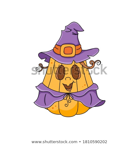 cute witch in purple outfit for halloween stock photo © elisanth