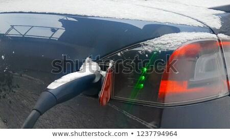 Elétrico ao ar livre neve coberto eletricidade Foto stock © backyardproductions