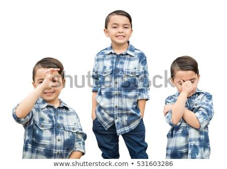 Aranyos félvér fiú portré választék fehér Stock fotó © feverpitch