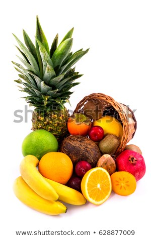 tropical fruits in the woven basket isolated stock photo © kayros