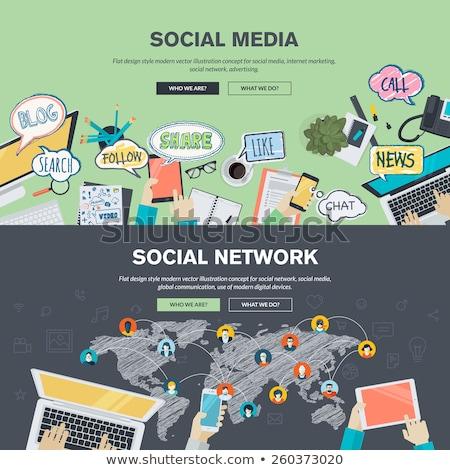 social network sketch icon stock photo © rastudio
