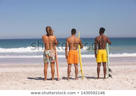 Hátsó nézet férfi áll szörfdeszka part tengerpart Stock fotó © wavebreak_media
