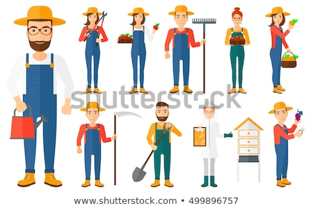 Farmer with pruner vector illustration. Stock photo © RAStudio
