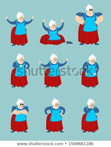 büyükanne · ayarlamak · avatar · üzücü · öfkeli · yüz - stok fotoğraf © popaukropa