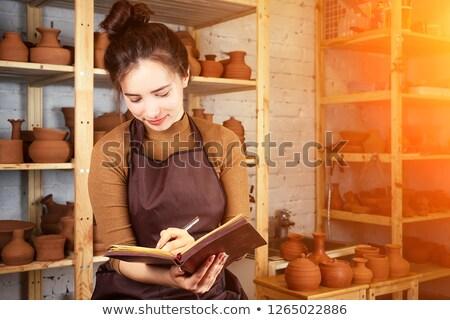 Güzel kadın pot çanak çömlek atölye iş Stok fotoğraf © wavebreak_media