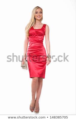 aantrekkelijk · blond · rode · jurk · poseren · witte · muur - stockfoto © acidgrey