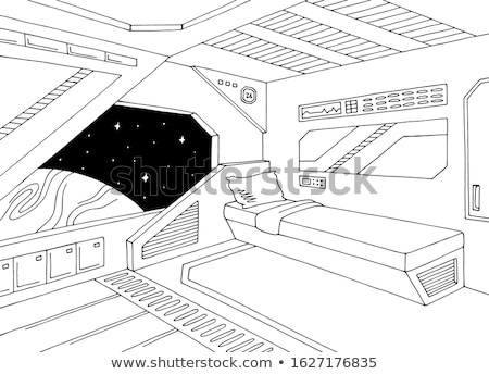 Blanco negro astronave escena ilustración tecnología fondo Foto stock © bluering