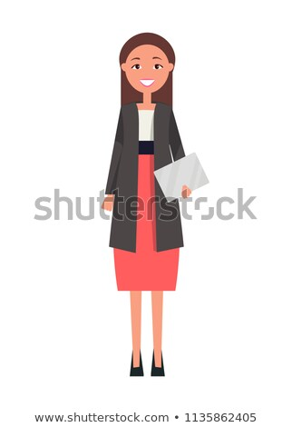 Well-Dressed Brunette Woman in Red Skirt Vector Stock photo © robuart