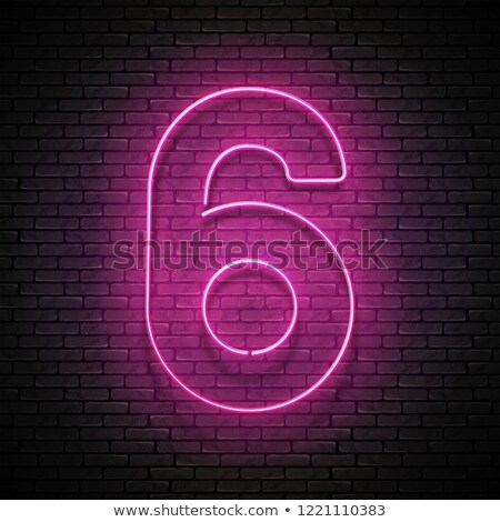 Stock photo: Vintage Glow Signboard with Number Six, Design Element