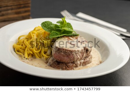 Stock fotó: Steak · mártás · tányér · illusztráció · étel · háttér