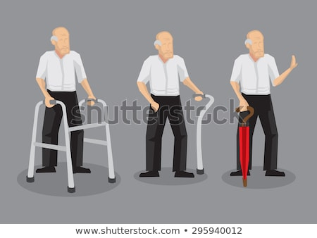 man with umbrella walking vector illustration icon Stock photo © blaskorizov