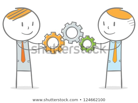 Team of business people sticking and working together Stock photo © Kzenon