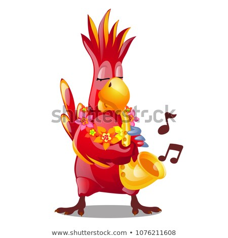 Funny red parrot playing a wind musical instrument isolated on a white background. Vector cartoon cl Stock photo © Lady-Luck