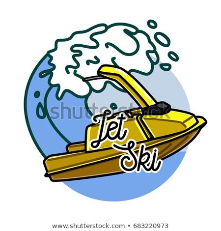 Color vintage jet ski emblema etiqueta placa Foto stock © netkov1