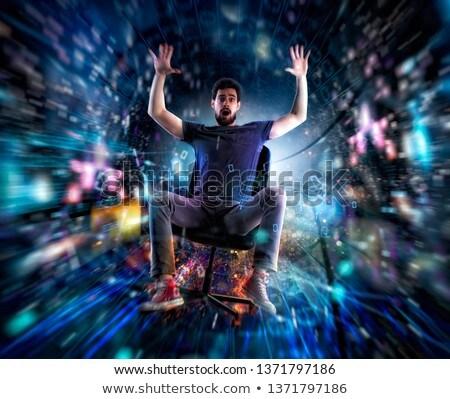 Adam ofis koltuğu hızlı Internet kablo ağ Stok fotoğraf © alphaspirit