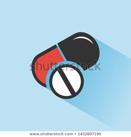 Pills color icon with shade on a blue background Stock photo © Imaagio
