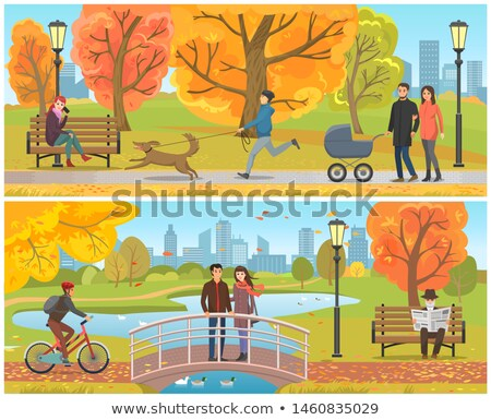 People Walking in Park, Benches Lanterns Outdoors Stock photo © robuart