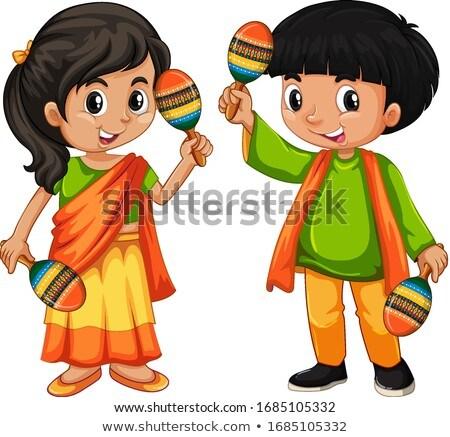 India kid holding maracas on white background Stock photo © bluering