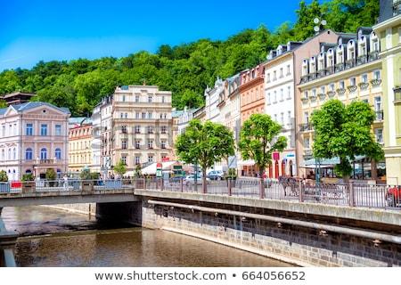 embankment of tepla river karlovy vary czech republic stock photo © borisb17