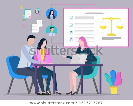 Lawyer and Client, Judge Consultation, Plan Vector Stock photo © robuart
