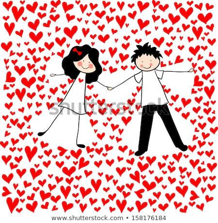 valentine card with comic girl and boy Stock photo © izakowski