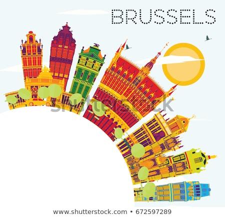 Skicc Brüsszel sziluett kék épület copy space Stock fotó © ShustrikS
