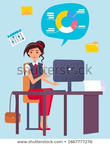 秘書 座って ノートパソコン 電卓 フォルダ ストックフォト © robuart