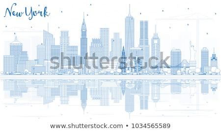 New York City linha do horizonte azul edifícios Foto stock © ShustrikS