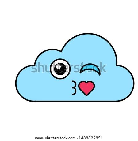 Coquetear nube emoticon ilustración romántica Foto stock © barsrsind