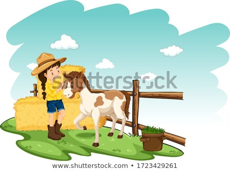 Farm scene with farmer and pony on white background Stock photo © bluering