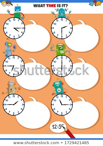 telling time educational task with funny robots Stock photo © izakowski