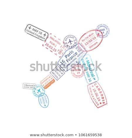 Heldere kleurrijk immigratie postzegels vliegtuig vorm Stockfoto © evgeny89