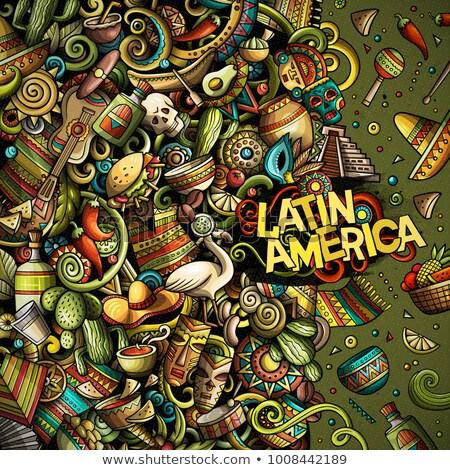 Cartoon wektora kolor bazgroły ameryka Łacińska ilustracja Zdjęcia stock © balabolka