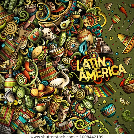Cartoon vector color doodles Latin America illustration Stock photo © balabolka