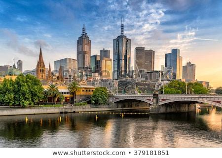 Melbourne · Skyline · Geld · Sonnenuntergang · Gebäude · Silhouette - stock foto © jeayesy