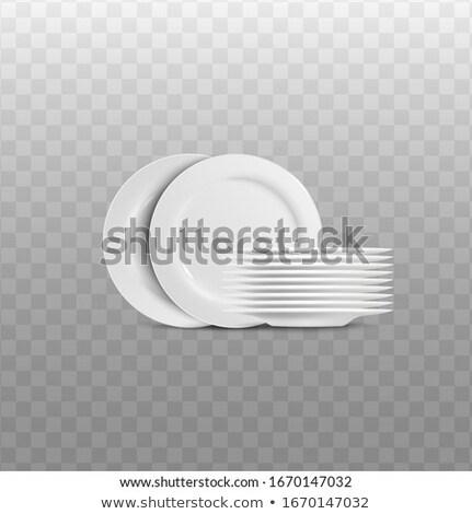 スタック · プレート · 白 · 表 · キッチン · カフェ - ストックフォト © m-studio