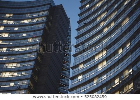 Stock fotó: Iroda · részlet · ablakok · irodaépületek · felhők · textúra