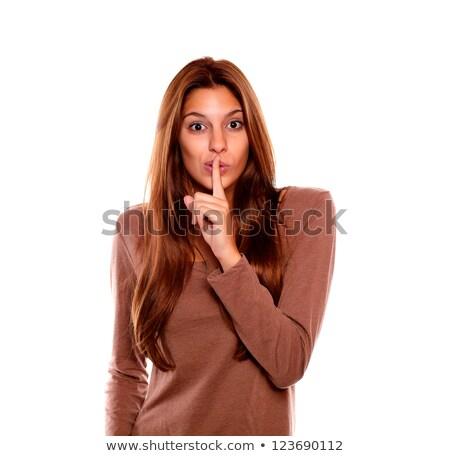 młoda · kobieta · ciszy · patrząc · portret · elegancki · niebieski - zdjęcia stock © pablocalvog
