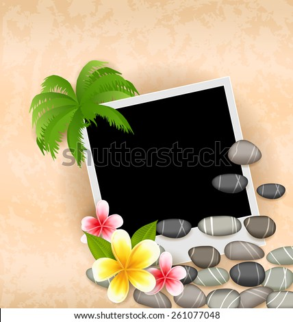 Summer photoframe with flowers and palm-tree, vector  Stock photo © carodi