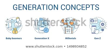 X-generáció felirat írott fémes levelek fehér Stock fotó © pxhidalgo