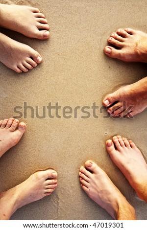 Láb család homokos tengerpart homok Stock fotó © meinzahn
