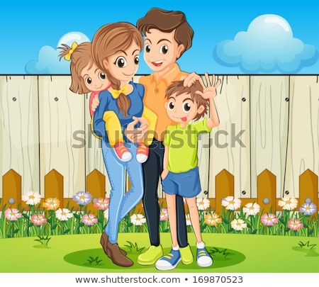 Stock photo: shadow of a boy with mother at a wooden fence