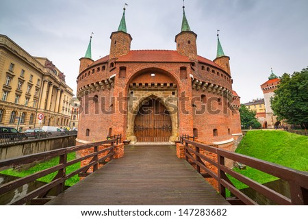 Cracow barbican - medieval fortifcation at city walls, Poland  Stock photo © meinzahn