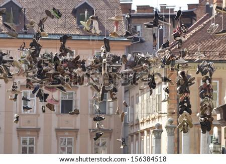 подвесной обувь линия вокруг квадратный Словения Сток-фото © joyr