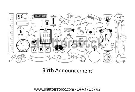 Születés közlemény illusztráció kicsi kislány cipők Stock fotó © adrenalina