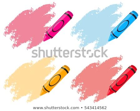 Citromsárga rózsaszín zsírkréták ceruza piros tárgy Stock fotó © mady70
