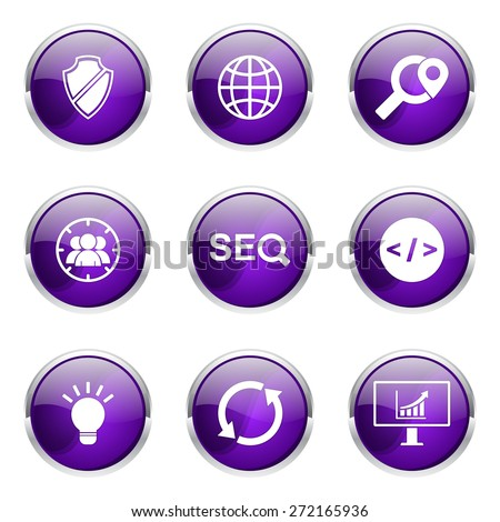 seo internet sign violet vector button icon design set 2 stock photo © rizwanali3d