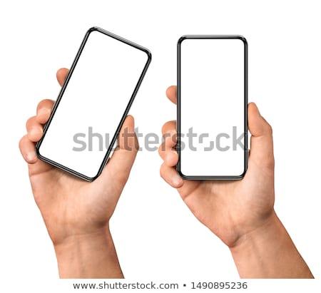 kéz · tart · mobil · okostelefon · képernyő · vízszintes - stock fotó © Customdesigner