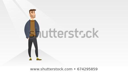 man posing on catwalk during fashion show stock photo © rastudio